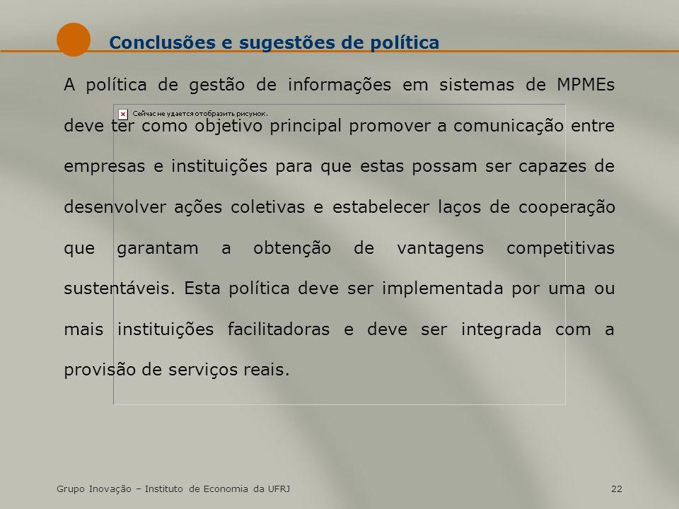 Conclusões e sugestões de política