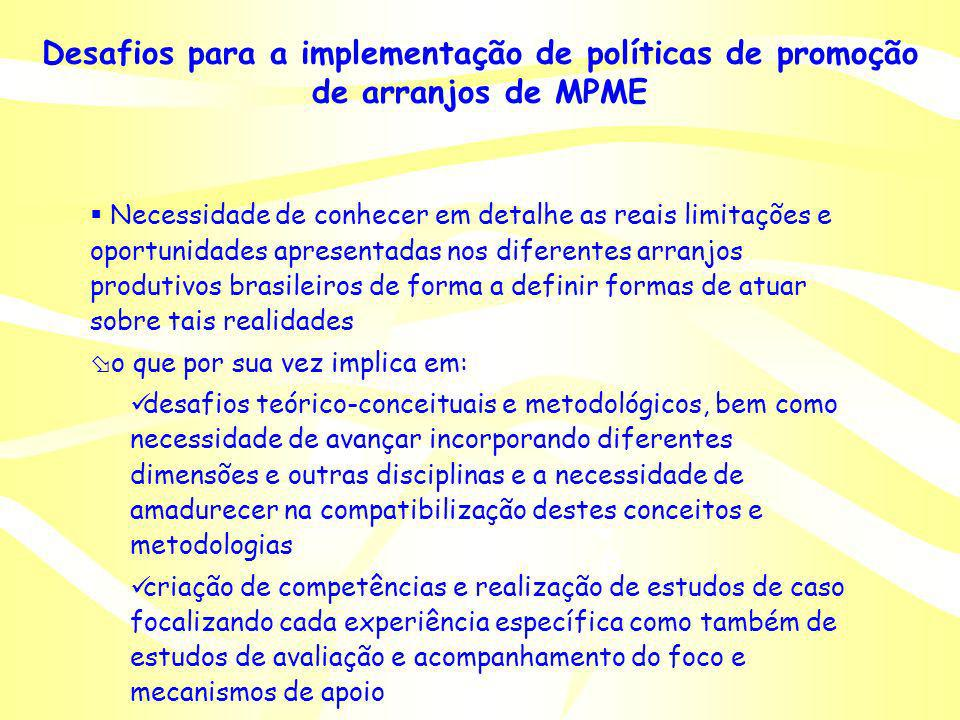 Desafios para a implementação de políticas de promoção de arranjos de MPME