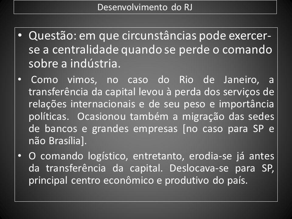 Desenvolvimento do RJ Questão: em que circunstâncias pode exercer-se a centralidade quando se perde o comando sobre a indústria.