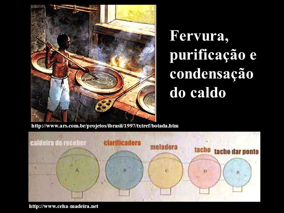 Fervura, purificação e condensação do caldo