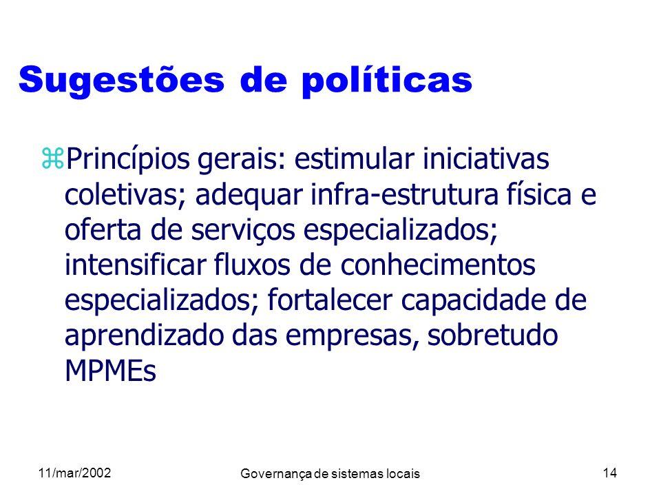 Sugestões de políticas