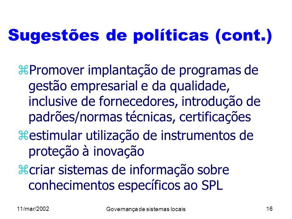 Sugestões de políticas (cont.)