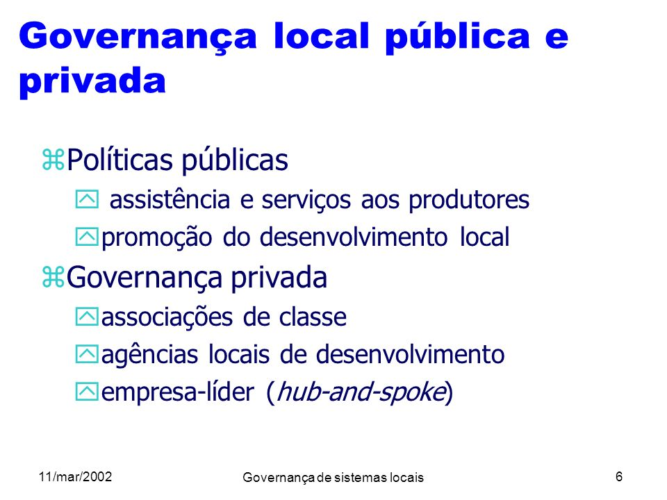 Governança local pública e privada