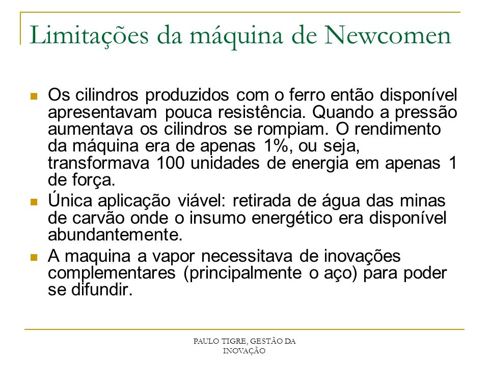 Limitações da máquina de Newcomen
