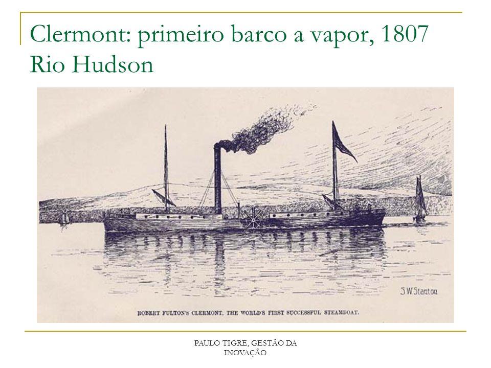 Clermont: primeiro barco a vapor, 1807 Rio Hudson