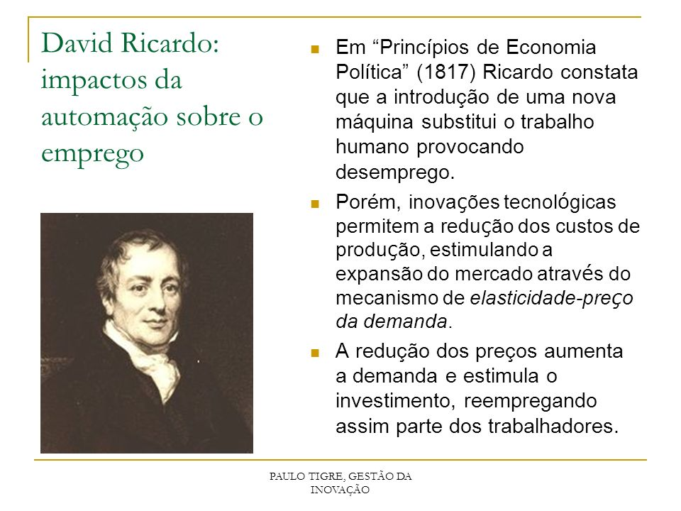 David Ricardo: impactos da automação sobre o emprego
