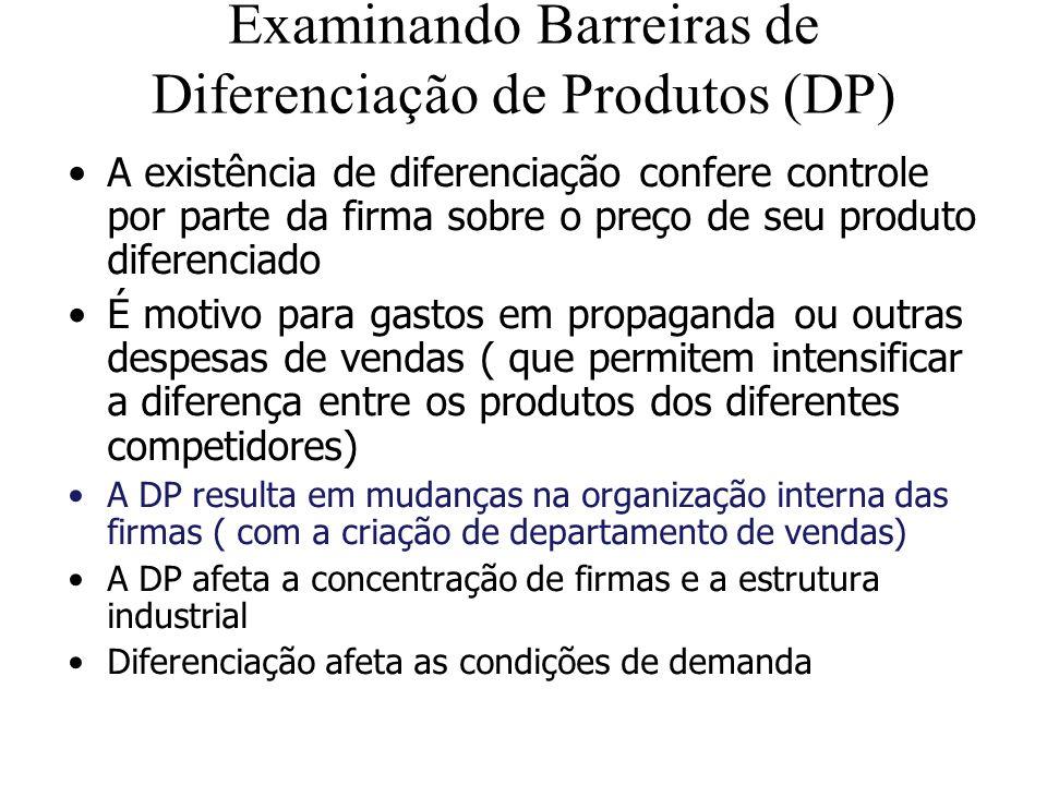 Examinando Barreiras de Diferenciação de Produtos (DP)