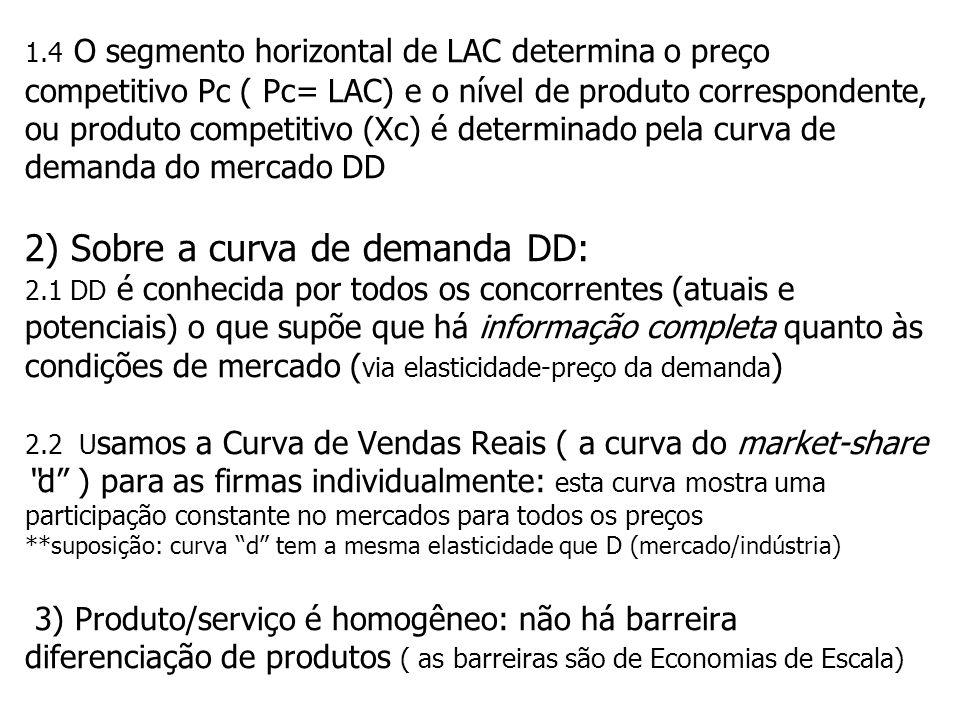 1.4 O segmento horizontal de LAC determina o preço competitivo Pc ( Pc= LAC) e o nível de produto correspondente, ou produto competitivo (Xc) é determinado pela curva de demanda do mercado DD 2) Sobre a curva de demanda DD: 2.1 DD é conhecida por todos os concorrentes (atuais e potenciais) o que supõe que há informação completa quanto às condições de mercado (via elasticidade-preço da demanda) 2.2 Usamos a Curva de Vendas Reais ( a curva do market-share d ) para as firmas individualmente: esta curva mostra uma participação constante no mercados para todos os preços **suposição: curva d tem a mesma elasticidade que D (mercado/indústria) 3) Produto/serviço é homogêneo: não há barreira diferenciação de produtos ( as barreiras são de Economias de Escala)