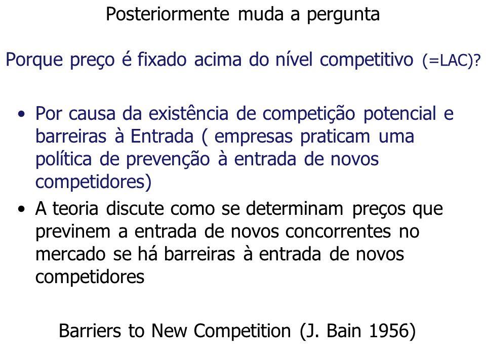 Posteriormente muda a pergunta Porque preço é fixado acima do nível competitivo (=LAC)