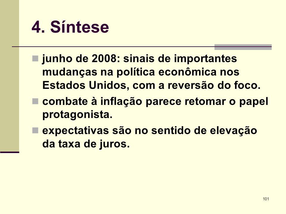 4. Síntese junho de 2008: sinais de importantes mudanças na política econômica nos Estados Unidos, com a reversão do foco.