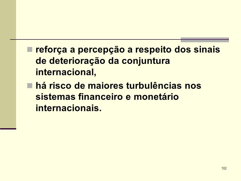 reforça a percepção a respeito dos sinais de deterioração da conjuntura internacional,