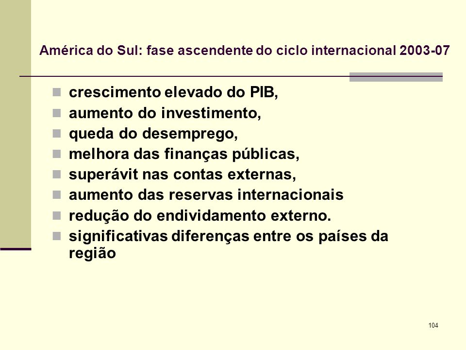 América do Sul: fase ascendente do ciclo internacional