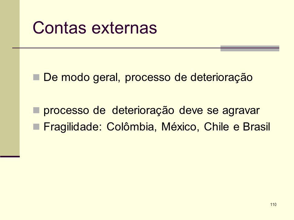 Contas externas De modo geral, processo de deterioração