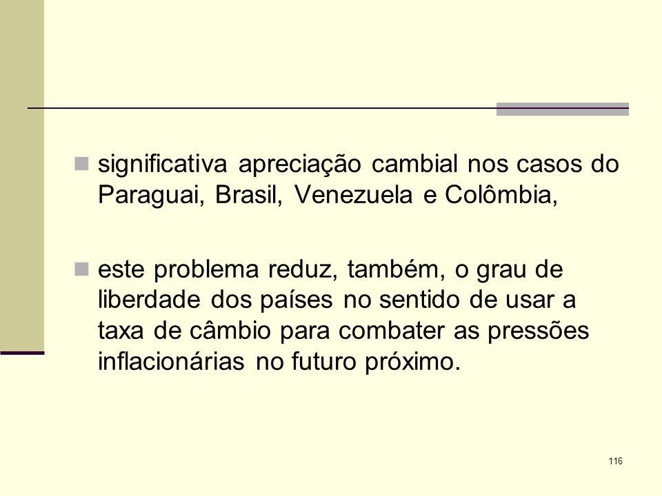 significativa apreciação cambial nos casos do Paraguai, Brasil, Venezuela e Colômbia,