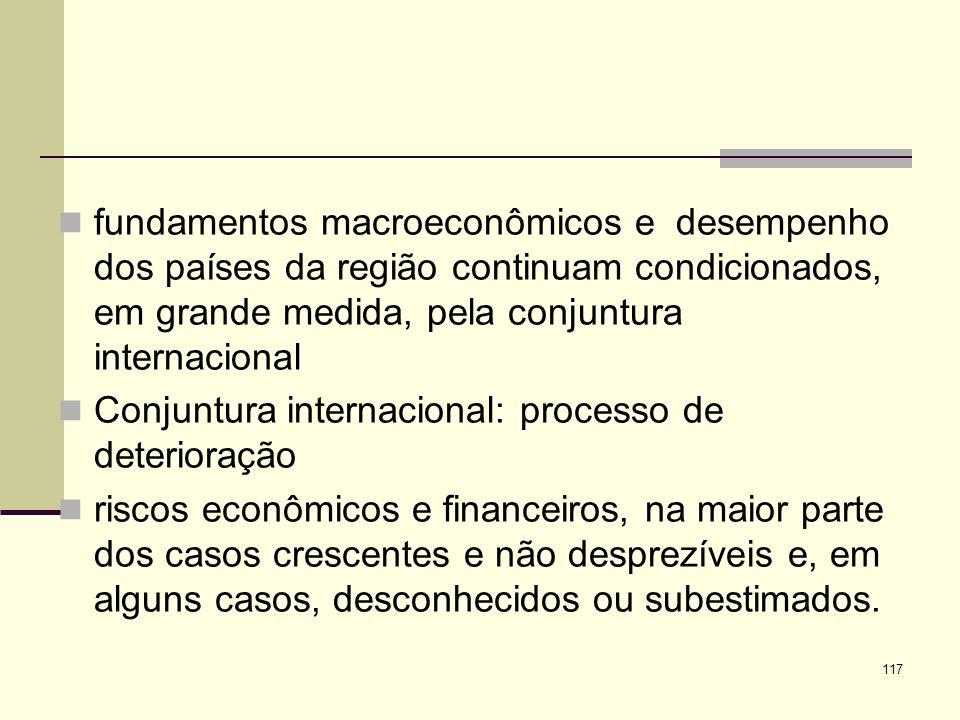 fundamentos macroeconômicos e desempenho dos países da região continuam condicionados, em grande medida, pela conjuntura internacional