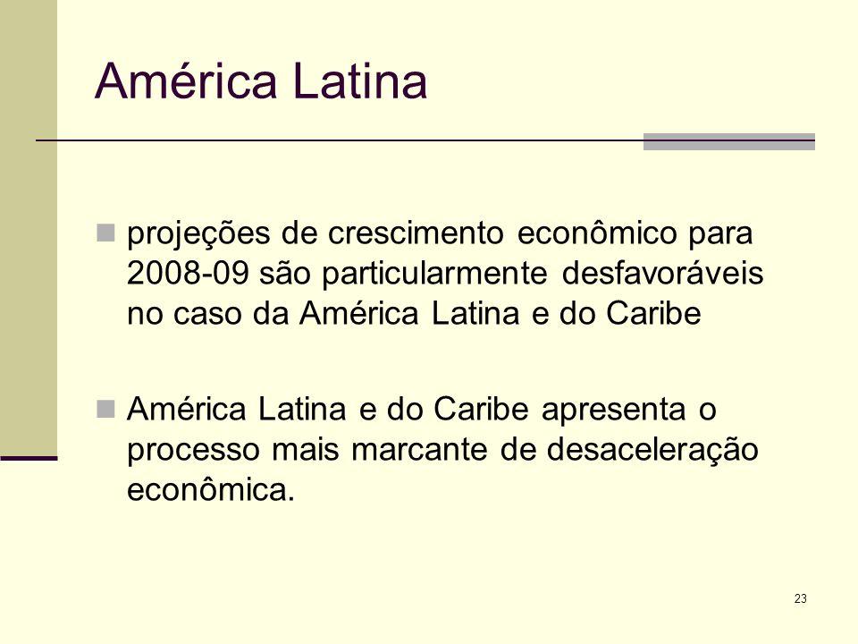 América Latina projeções de crescimento econômico para 2008-09 são particularmente desfavoráveis no caso da América Latina e do Caribe.