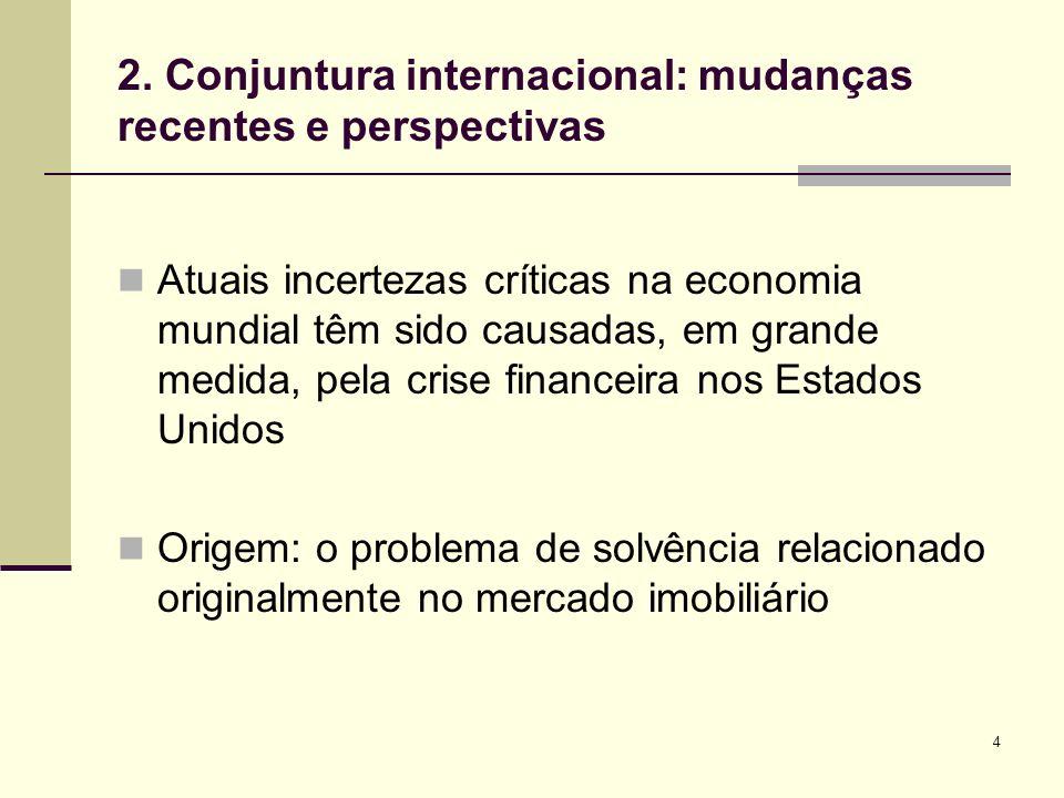 2. Conjuntura internacional: mudanças recentes e perspectivas
