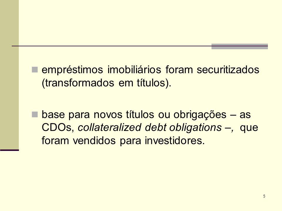 empréstimos imobiliários foram securitizados (transformados em títulos).