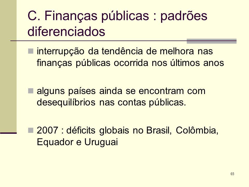 C. Finanças públicas : padrões diferenciados