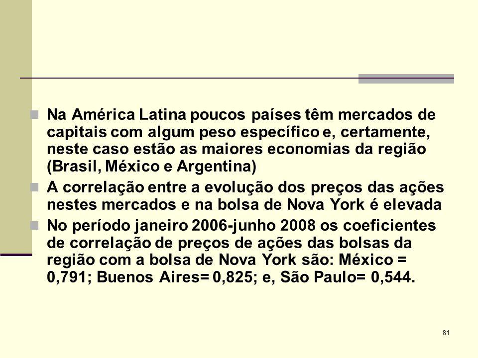 Na América Latina poucos países têm mercados de capitais com algum peso específico e, certamente, neste caso estão as maiores economias da região (Brasil, México e Argentina)