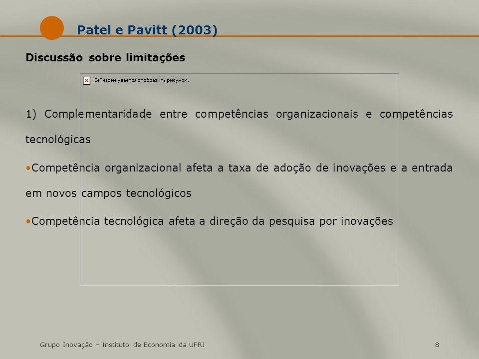 Patel e Pavitt (2003) Discussão sobre limitações