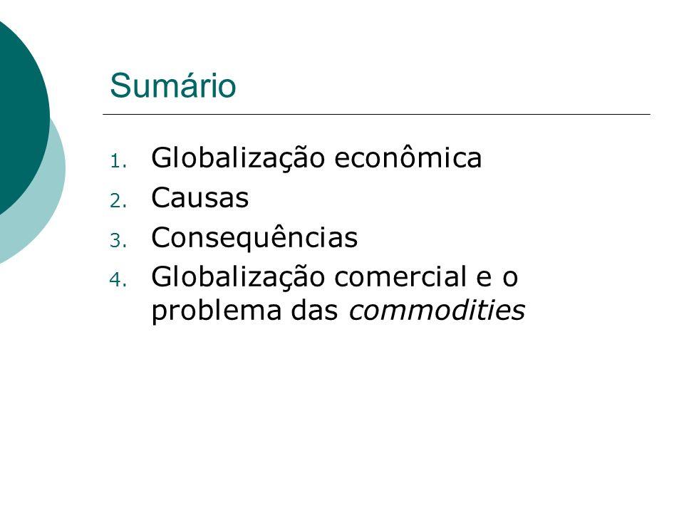Sumário Globalização econômica Causas Consequências