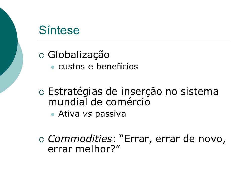 Síntese Globalização. custos e benefícios. Estratégias de inserção no sistema mundial de comércio.