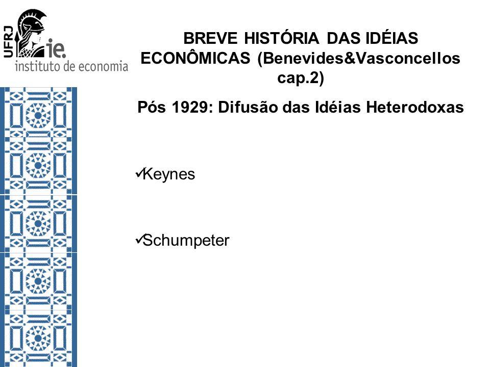 BREVE HISTÓRIA DAS IDÉIAS ECONÔMICAS (Benevides&Vasconcellos cap.2)