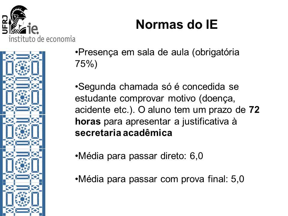 Normas do IE Presença em sala de aula (obrigatória 75%)