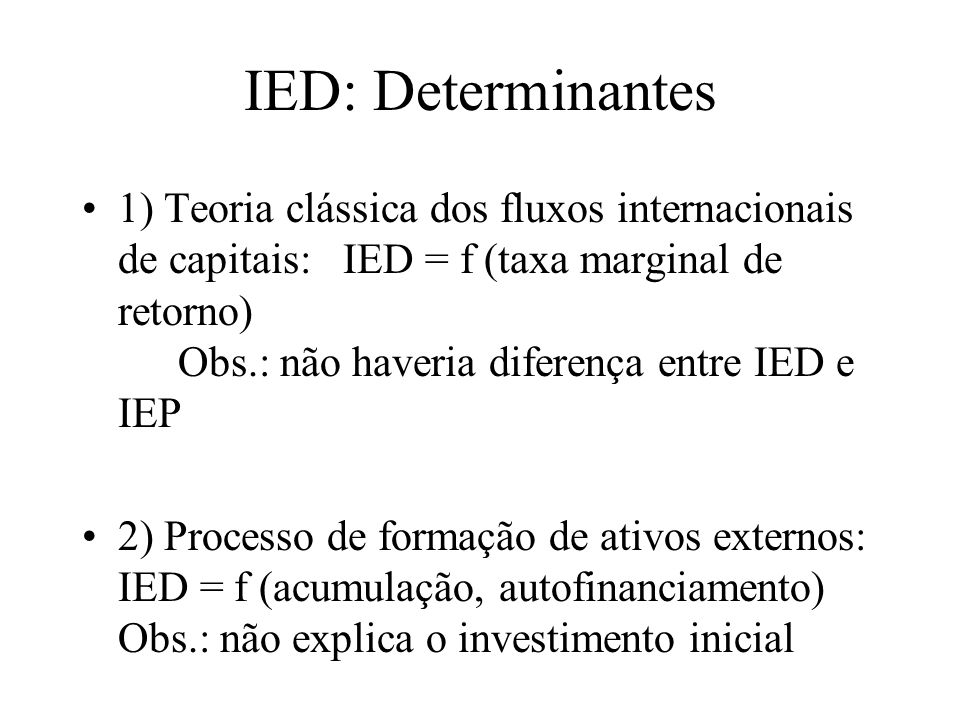IED: Determinantes