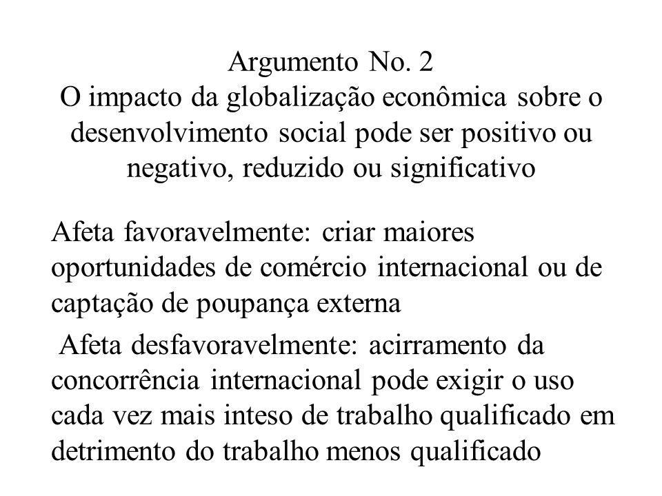 Argumento No. 2 O impacto da globalização econômica sobre o desenvolvimento social pode ser positivo ou negativo, reduzido ou significativo