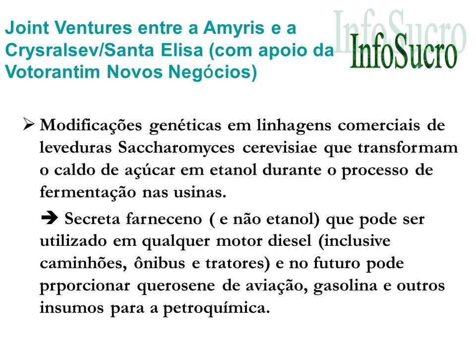 Joint Ventures entre a Amyris e a Crysralsev/Santa Elisa (com apoio da Votorantim Novos Negócios)