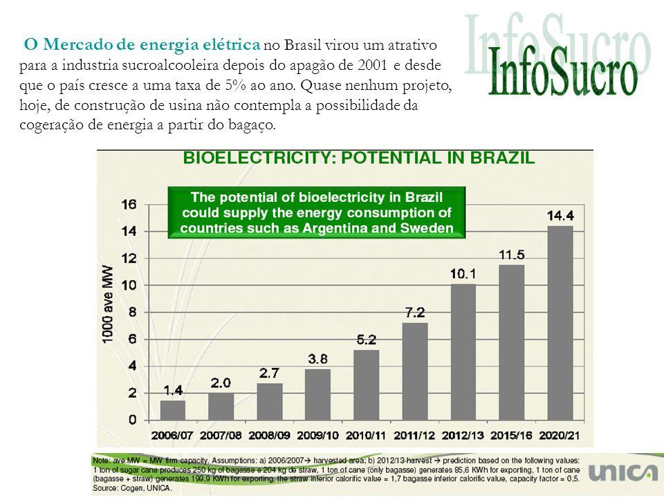 O Mercado de energia elétrica no Brasil virou um atrativo para a industria sucroalcooleira depois do apagão de 2001 e desde que o país cresce a uma taxa de 5% ao ano.