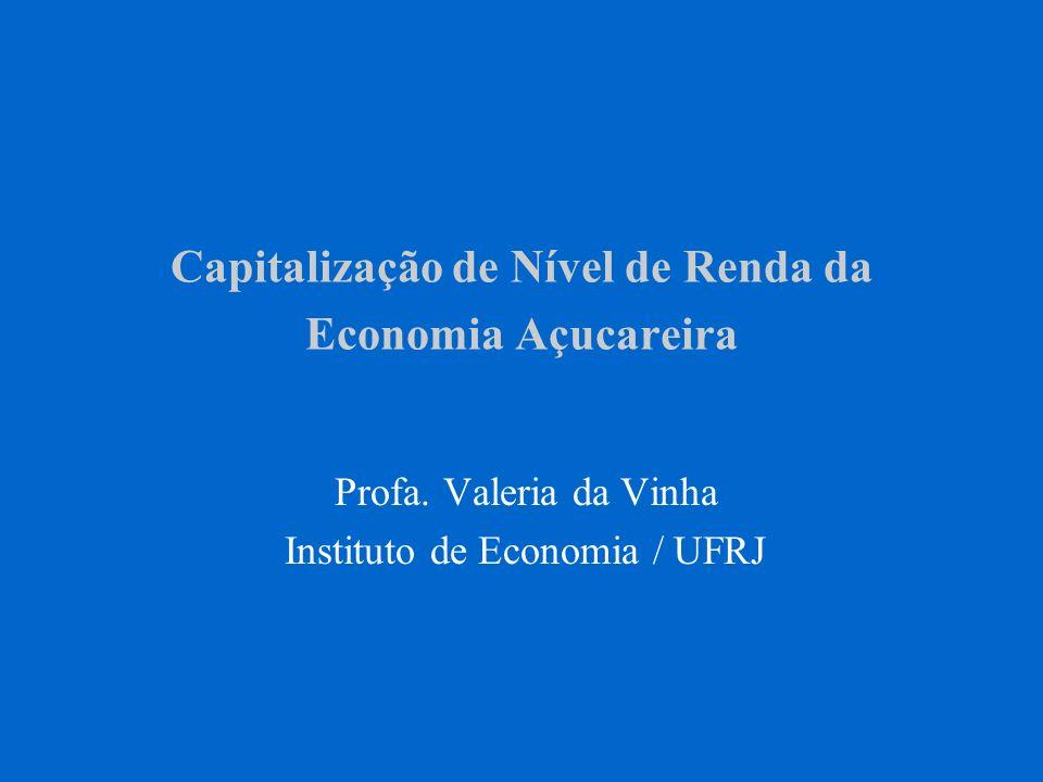 Capitalização de Nível de Renda da Economia Açucareira