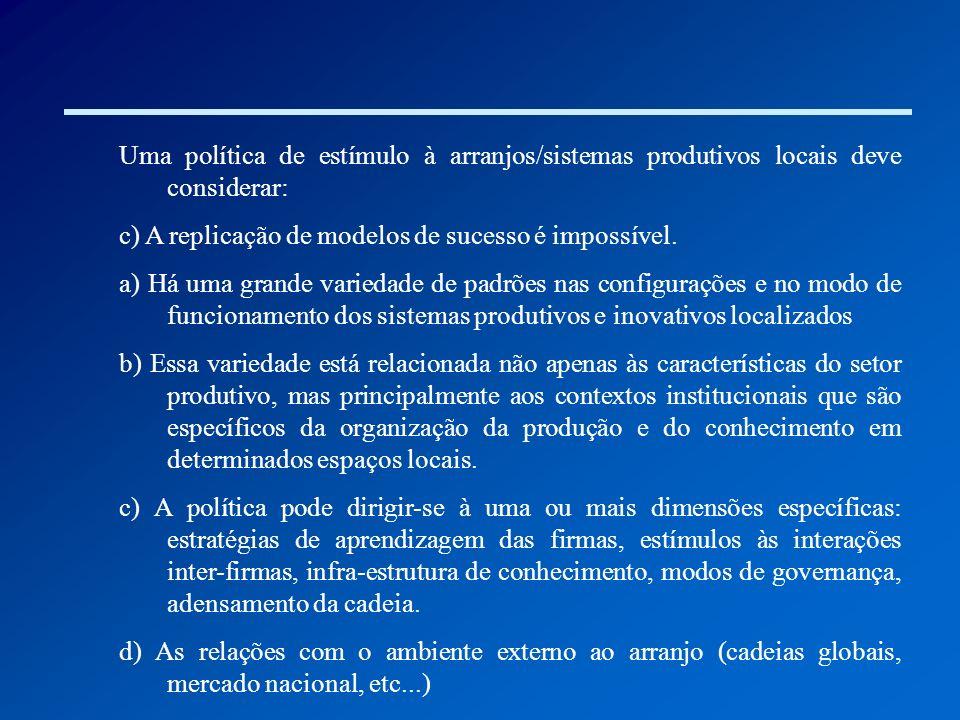 Uma política de estímulo à arranjos/sistemas produtivos locais deve considerar: