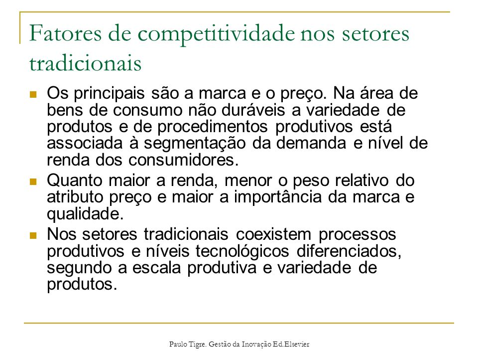 Fatores de competitividade nos setores tradicionais