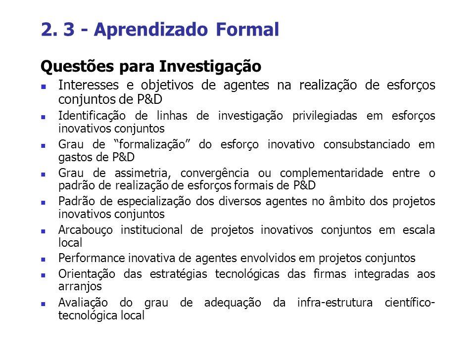 2. 3 - Aprendizado Formal Questões para Investigação