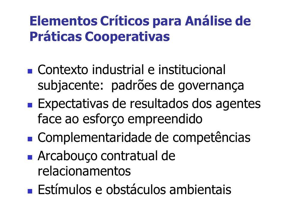 Elementos Críticos para Análise de Práticas Cooperativas