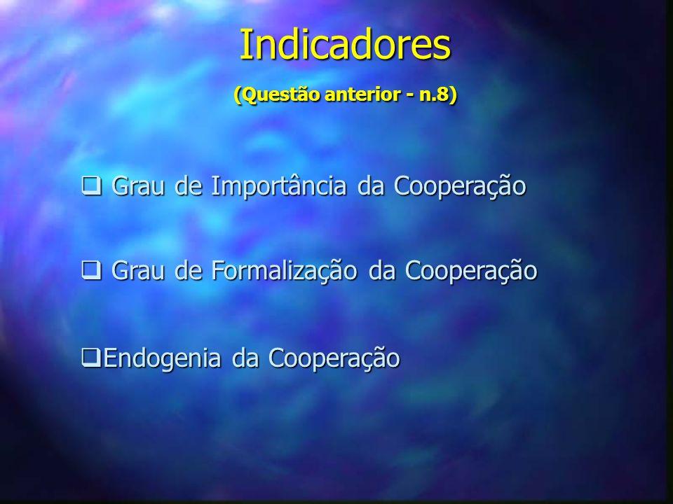 Indicadores (Questão anterior - n.8)