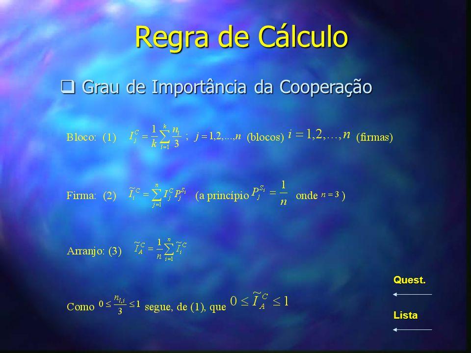 Regra de Cálculo Grau de Importância da Cooperação Quest. Lista