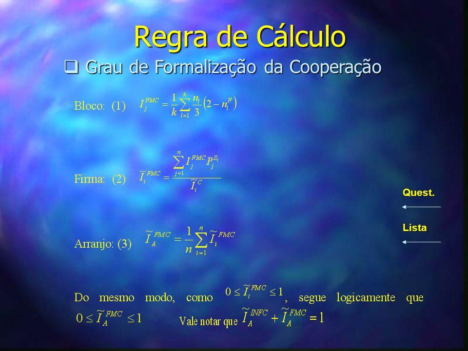 Regra de Cálculo Grau de Formalização da Cooperação Quest. Lista