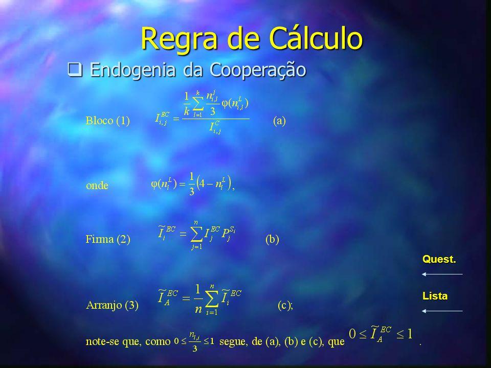 Regra de Cálculo Endogenia da Cooperação Quest. Lista
