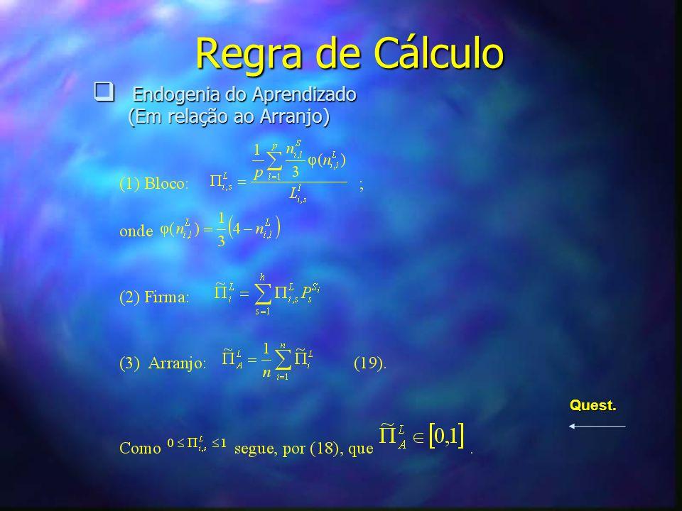 Regra de Cálculo Endogenia do Aprendizado (Em relação ao Arranjo)