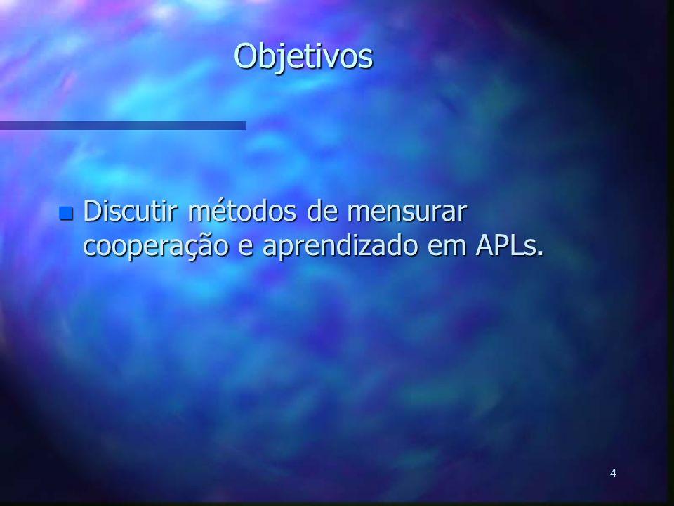 Objetivos Discutir métodos de mensurar cooperação e aprendizado em APLs.