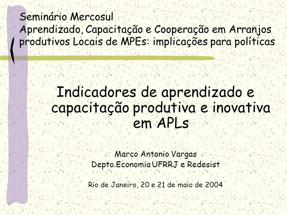 Indicadores de aprendizado e capacitação produtiva e inovativa em APLs