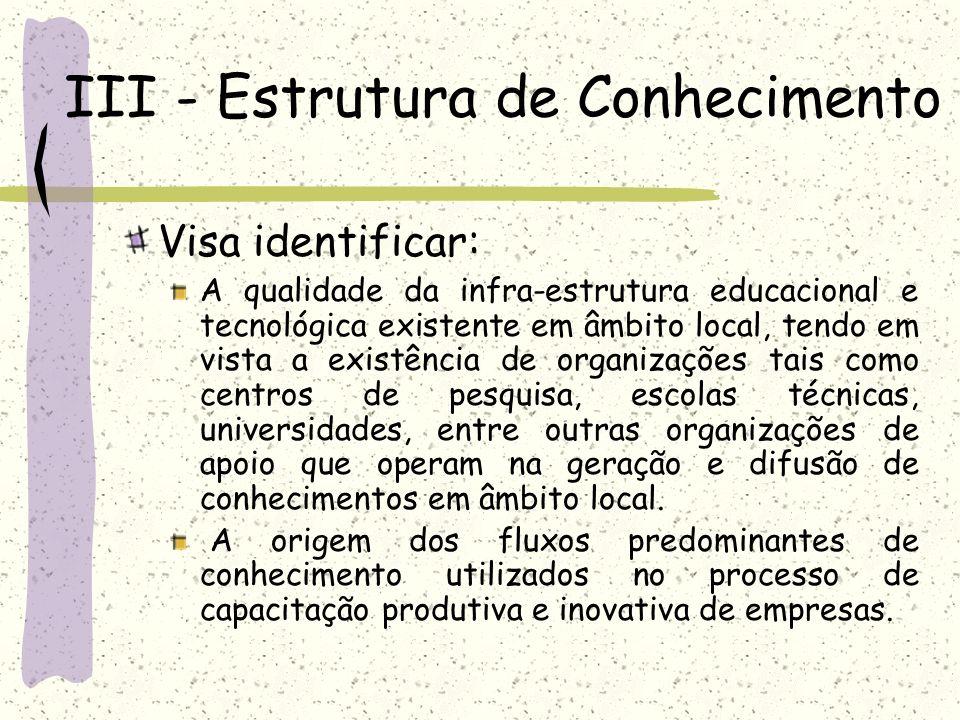 III - Estrutura de Conhecimento