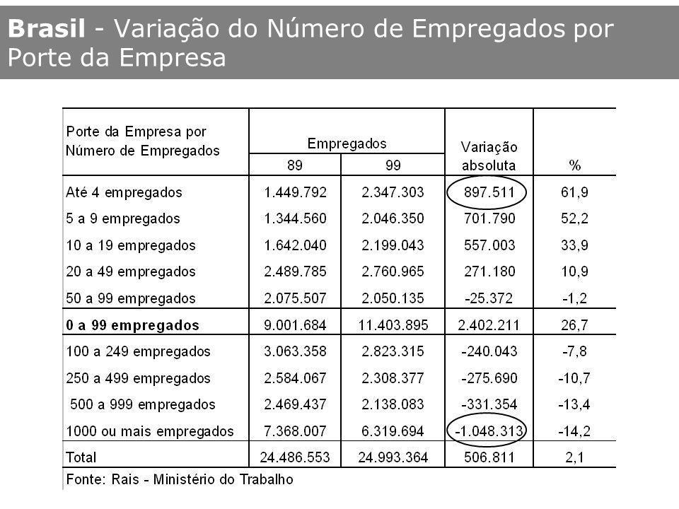 Brasil - Variação do Número de Empregados por Porte da Empresa
