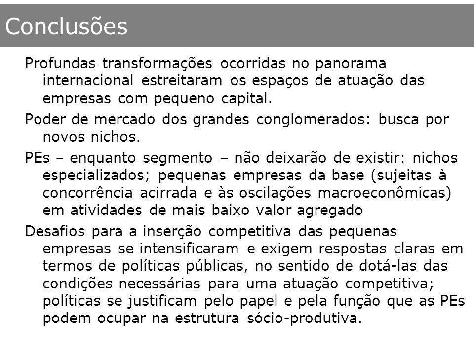 ConclusõesProfundas transformações ocorridas no panorama internacional estreitaram os espaços de atuação das empresas com pequeno capital.
