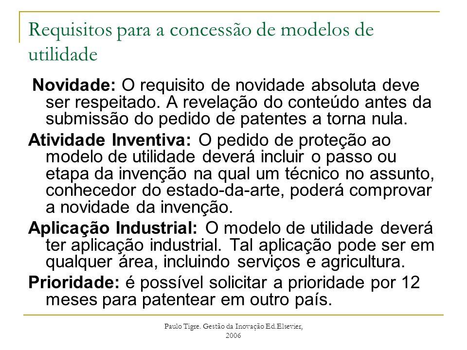 Requisitos para a concessão de modelos de utilidade