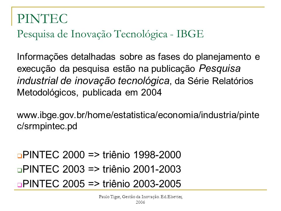 PINTEC Pesquisa de Inovação Tecnológica - IBGE
